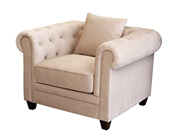 Abbyson Living Morgan Velvet Fabric Tufted Armchair, Beige