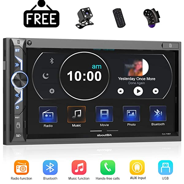 7 inch Double Din Digital Media Car Stereo Receiver,aboutBit Bluetooth 5.0 Touch Screen Car Radio MP5 Player Support Rear/Front-View Camera, AM/FM/MP3/USB/Subwoofer,Aux Input,Mirror Link (Color: Black)