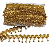 MELADY Pack of 10yards Bell Sequins Lace Tassel Dance Clothing Accessories Fringe Trim (Gold) (Color: gold)