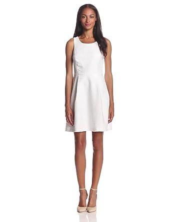 Kensie Women's Raised Circles Dress, White, Large