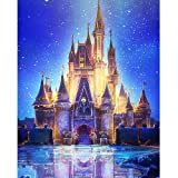 DIY 5D Diamond Painting Kits for Adults, Granmp Full Drill Crystal Rhinestone Painting Kit Diamond Cross Stitch Paint by Number Kits Rhinestone Embroidery for Home Wall Decoration Castle, 11.8
