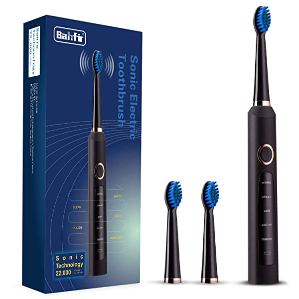 Sonic Electric Toothbrush Clean as Dentist Rechargeable 1 Time Charge 30 Days Use 5 Modes Waterproof 3 Replacement Heads with Smart Timer Black (Color: Blue Package, Tamaño: blue package)