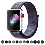 HILIMNY Compatible for Apple Watch Band 40mm, Soft Nylon Sport Loop, with Hook and Loop Fastener, Band Compatible for iwatch Series 4 (40mm, Midnight Blue) (Color: Loop-midnightblue, Tamaño: 40mm)