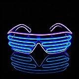 PINFOX Shutter EL Wire Neon Rave Glasses Flashing LED Sunglasses Light Up Costumes 80s, EDM, Party RB03 (Purple - Blue) (Color: Purple + Blue)