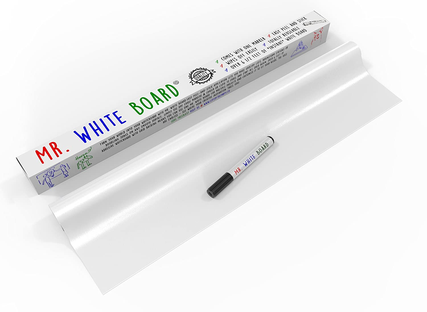 (#1 Rated Dry Erase Wall Decal) Over 6 Ft of Adhesive Whiteboard Turns Any Surface Into Monthly White Board Calendar or Weekly List - Easier Than White Board Paint, Comes With FREE Dry Erase Marker