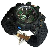 Green Adjustable Waterproof Resistant 7 Strand 550 Paracord Loop Strap Nylon Customization Bracelet Strap Band (Stainless Steel) (Color: green, Tamaño: Fit for 8