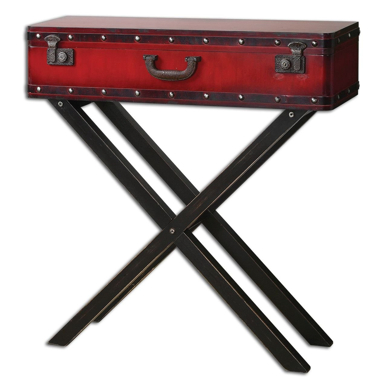 Red Trunk Storage Console Table | Antiqued Suitcase Sofa Entry 0
