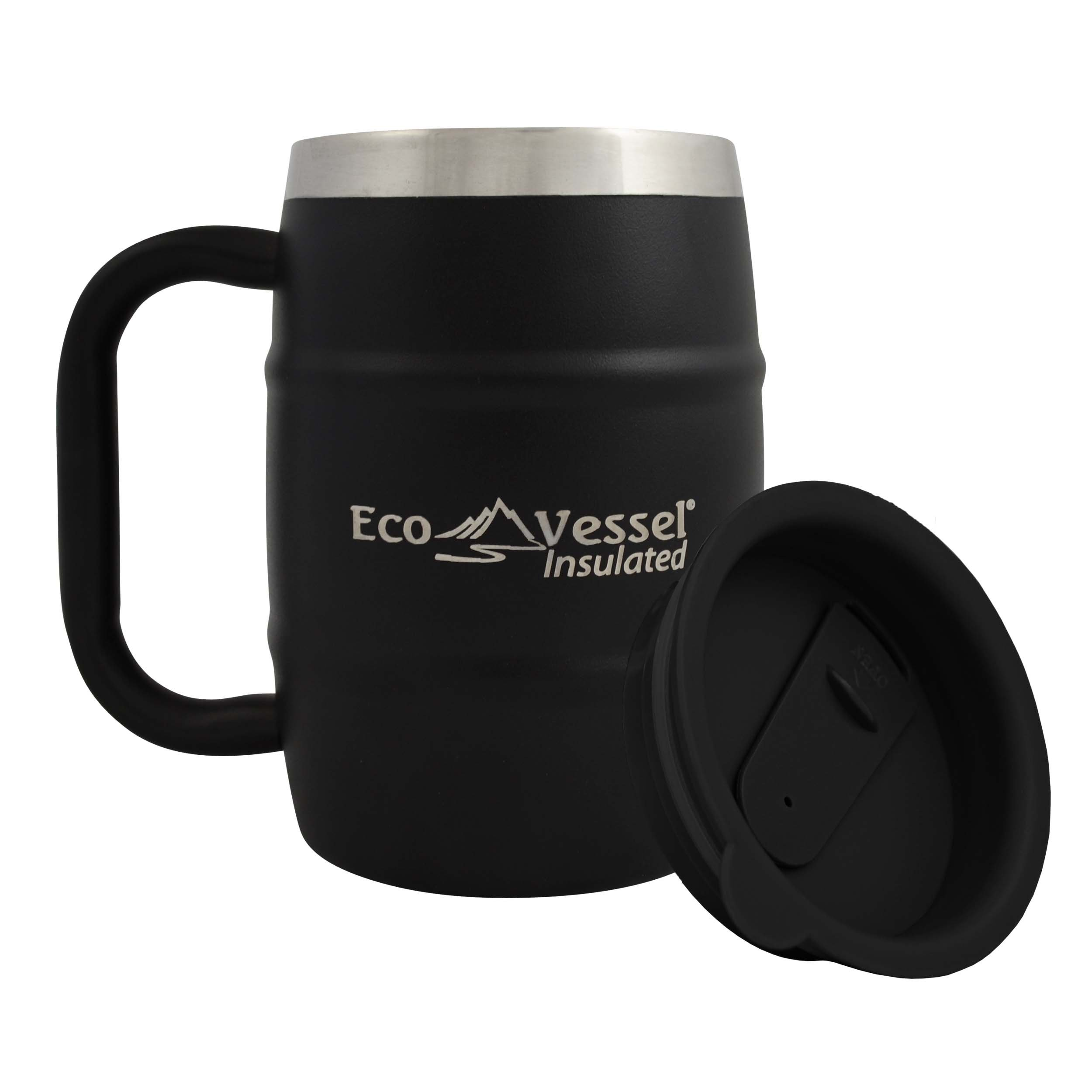 onyx black new travel stainless steel insulated lid cup tumbler large coffee mug ebay. Black Bedroom Furniture Sets. Home Design Ideas