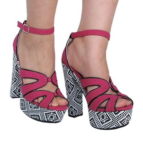 Womens Qupid Fuchsia Nubuck High Heel Platform Open Toe Strappy Peep Toe Sandals (Gossip32)