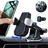 Andobil Automatic Clamping Wireless Car Charger Mount, Qi 10W 7.5W Fast Charging Air Vent Dashboard Phone Holder for iPhone 11 Xs Max XR 8 Plus, Samsung Galaxy S10 S9 S8 Note 10/9 (with QC3.0 Adapter) (Color: Automatic Clamping)