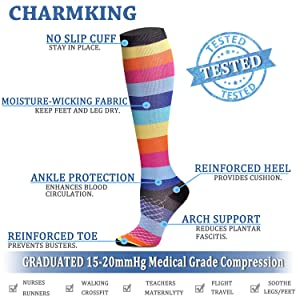 CHARMKING Compression Socks 15-20 mmHg is BEST Graduated Athletic & Medical for Men & Women Running, Travel, Nurses, Pregnant - Boost Performance, Blood Circulation & Recovery(Small/Medium,Assorted 9) (Color: 05 Pink/Multi/Multi/White/Blue/Pink/Black, Tamaño: Small/Medium (US Women 5.5-8.5/US Men 5-9))