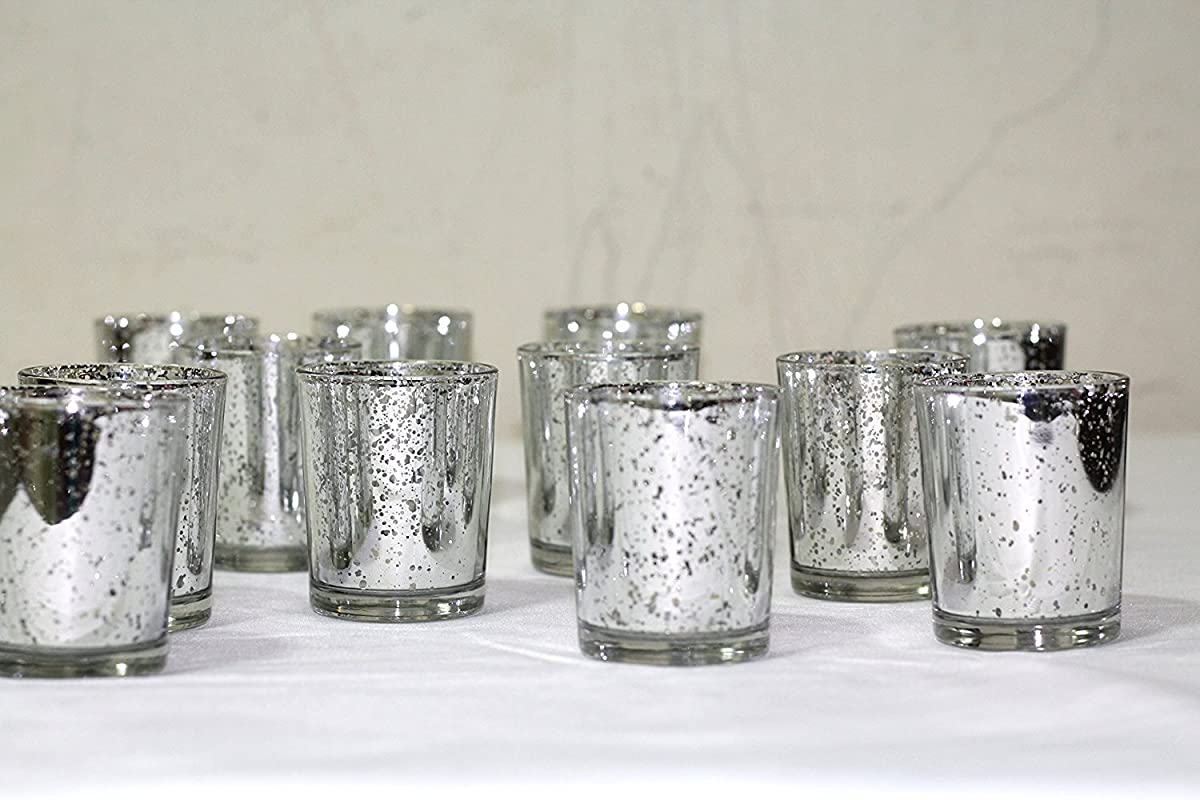 Silver Mercury Glass Votive Holder, Set of 12