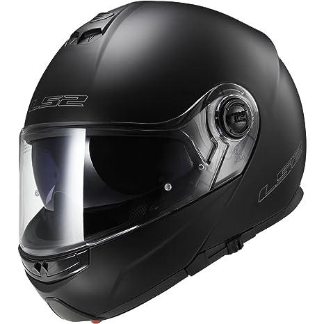 LS2 EASY FF370 Casque Modulable Casque Moto Motorcycle Couleur : Noir Mat - Taille: S