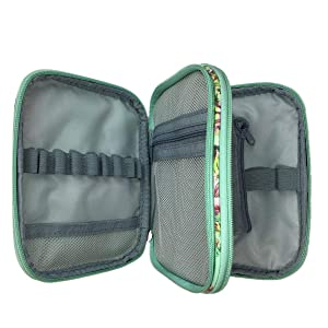New Crochet Hook Case Without Hooks and Accessories, Zipper Storage Organizer Bag with Web Pockets for Various Crochet Needles/Knitting Accessories/Crochet Hook Kit Tools, Lightweight, Easy to Hold (Color: green case)