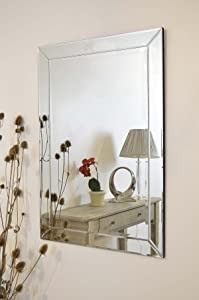 Large Modern Silver Single Edge Venetian Wall Mirror 3ft7 x 2ft7       review