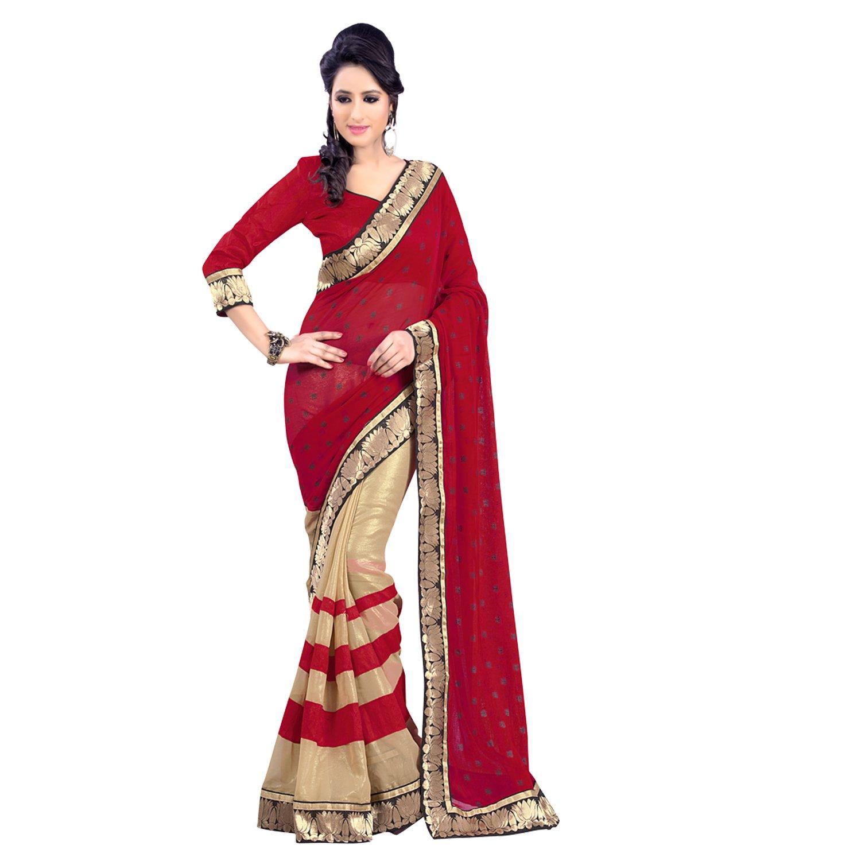 Janasya Half-Half Heavy Border Saree with Red Color