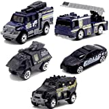 5pcs Assorted SWAT Die Cast Metal Alloy Car Models Mini Play Vehicles Truck Cars Toy for Kids Toddlers Boys (Styles May Vary) (Color: Blue Black, Tamaño: Small)