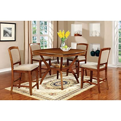 Furniture of America Halloran 5 Piece Counter Height Dining Table Set with Middle Storage Shelf