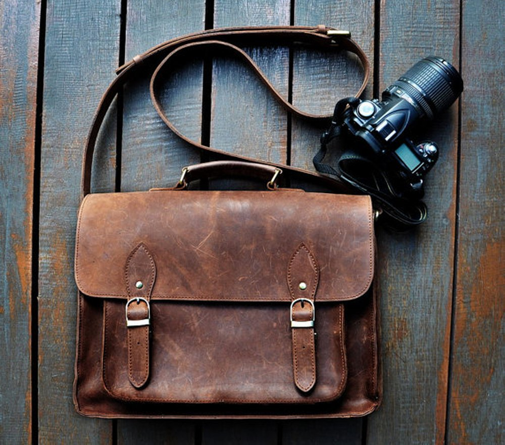 FeatherTouch Leather Camera Dslr Travel Camera Bag 12X9X5 Inches Brown 0