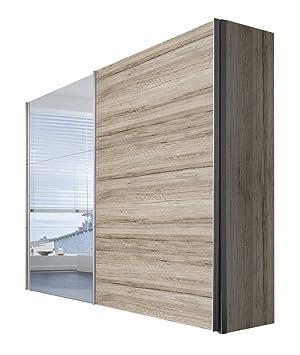 Solutions 46940-160 Schwebeturenschrank 2-turig, Korpus und Front san remo-eiche hell mit alufarbig Spiegel Griffleisten