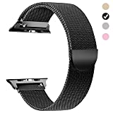 Tirnga Compatible with Apple Watch Band 44mm, iWatch Bands 44mm Milanese Loop Men Series 3 2 1 Black (Color: Black, Tamaño: 44 mm)