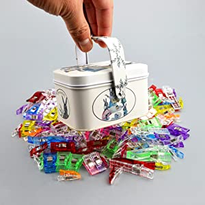 Sewing Clips,Quilting Supplies Pack of 119 Multipurpose Plastic Clips with Tin Box for Crafting,Crochet and Knitting,All Purpose Multicolor Clips for Quilt Binding,Paper,Blinder