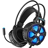 EasySMX Gaming Headset Xbox One Headset with Surround Sound Stereo, PS4 Headset with Mic & LED Light, Compatible with PC, Laptop, PS4, Xbox One Controller(Adapter Not Included), Nintendo Switch, Mac (Color: Cool 2000 Blue)