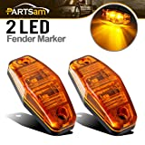 Partsam 2 Pcs LED Light 2 Diode AMBER Universal Surface Mount Clearance Side Marker Trailer (Size: 2.53 x 1.06 x 0.71 inch) (Color: 2*Amber)