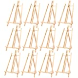 12-Pack of Tabletop Easels - Wood Easel, Mini Easels for Tabletop Painting, Standing Easel, Brown - 9 x 14.8 Inches (Color: Brown)