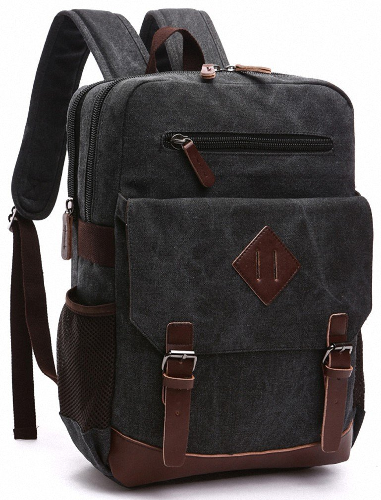 Kenox Mens Large Vintage Canvas Backpack School Laptop Bag Hiking Travel Rucksack 0