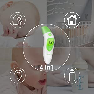 Forehead Thermometer, BROADCARE Digital Ear Thermometer for Baby Infant Toddler Kids Children Adult with FDA and CE Approved