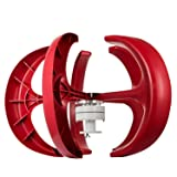 Happybuy Wind Turbine 400W 12V Wind Turbine Generator Red Lantern Vertical Wind Generator 5 Leaves Wind Turbine Kit with Controller No Pole (400W 12V, Red) (Color: Red, Tamaño: 400W 12V)