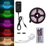 Sunix 6.6ft 5050 LED Strip Lights Kit, RGB Colour Changing LED Flexible Strip  DC12V Power Adapter  44-Key Remote, Non-Waterproof, Mood Decoration L