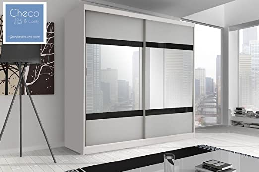 BEDROOM BRAND NEW SLIDING DOOR WARDROBE 6ft 8in (203cm) 'REFLECTION' MULTI F02 WHITE WITH MIRROR