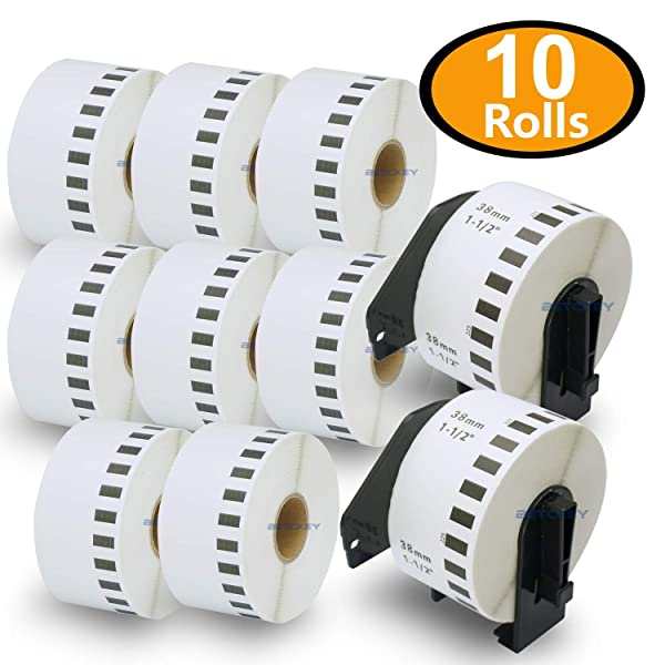 BETCKEY - Compatible DK-2225 Continuous Length 1-1/2 x 100'(38mm x 30.48m) Replacement Labels,Compatible with Brother QL Label Printers [10 Rolls + Two Refillable Cartridge Frame] (Color: 10-rolls)