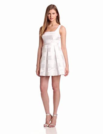 Jill Jill Stuart Women's Strapless Stripe Organza Dress, White, 4