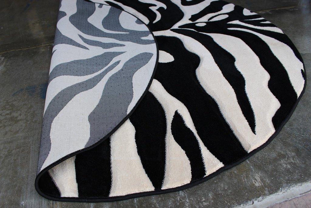 Modern Round Area Rug Sculptured Zebra Print Design #S 245 Black (7 Feet 8 Inch Diameter) Round