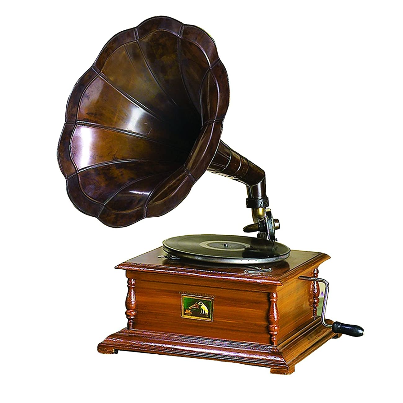 WinnerBrown Home Décor Metal Wood Brass Antique Finish Gramophone Record Player, 27 inch 0