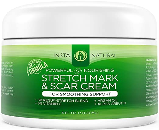 InstaNatural Stretch Mark & Scar Cream - Best Formula for Scar Removal & Prevention for Men & Women - Natural & Organic Moisturizing Body Cream Treatment - Great for Before & After Pregnancy - 4 OZ