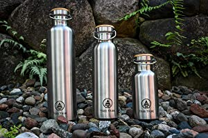Tree Tribe Stainless Steel Water Bottle 1 Liter / 34 oz - Indestructible, BPA Free, 100% Leak Proof, Eco Friendly, Double Wall Insulated Technology for Hot and Cold Drinks, Wide Mouth, Bamboo Cap