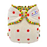 ALVABABY One Size Cute Bamboo Fitted Diaper Fits under 28lbs FT01 (Color: set 01, Tamaño: One size)