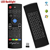 Backlit Air Keyboard Mouse Kodi Remote MX3 Pro, 2.4Ghz Mini Wireless Android TV Control & infrared Learning for Computer PC Android TV Box By Dupad Story (Color: Backlit Air Remote)