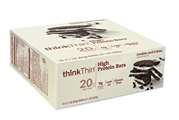ThinkThin Cookies & Cream Bar 59 g (Pack of 10) [Kohlenhydrate]