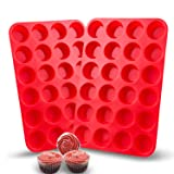 Auxcuiso 24 Cups Mini Muffin Molds Silicone Non Stick Set of 2 Packs Red (Color: Red, Tamaño: 24 Cups, 2 Packs)