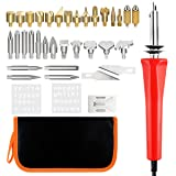 JUNING 38pcs Wood Burning Kit for Wood Burning/Carving/Embossing/Soldering with Carrying Case, 33 Tips, 2 Stencils and a Metal Stand