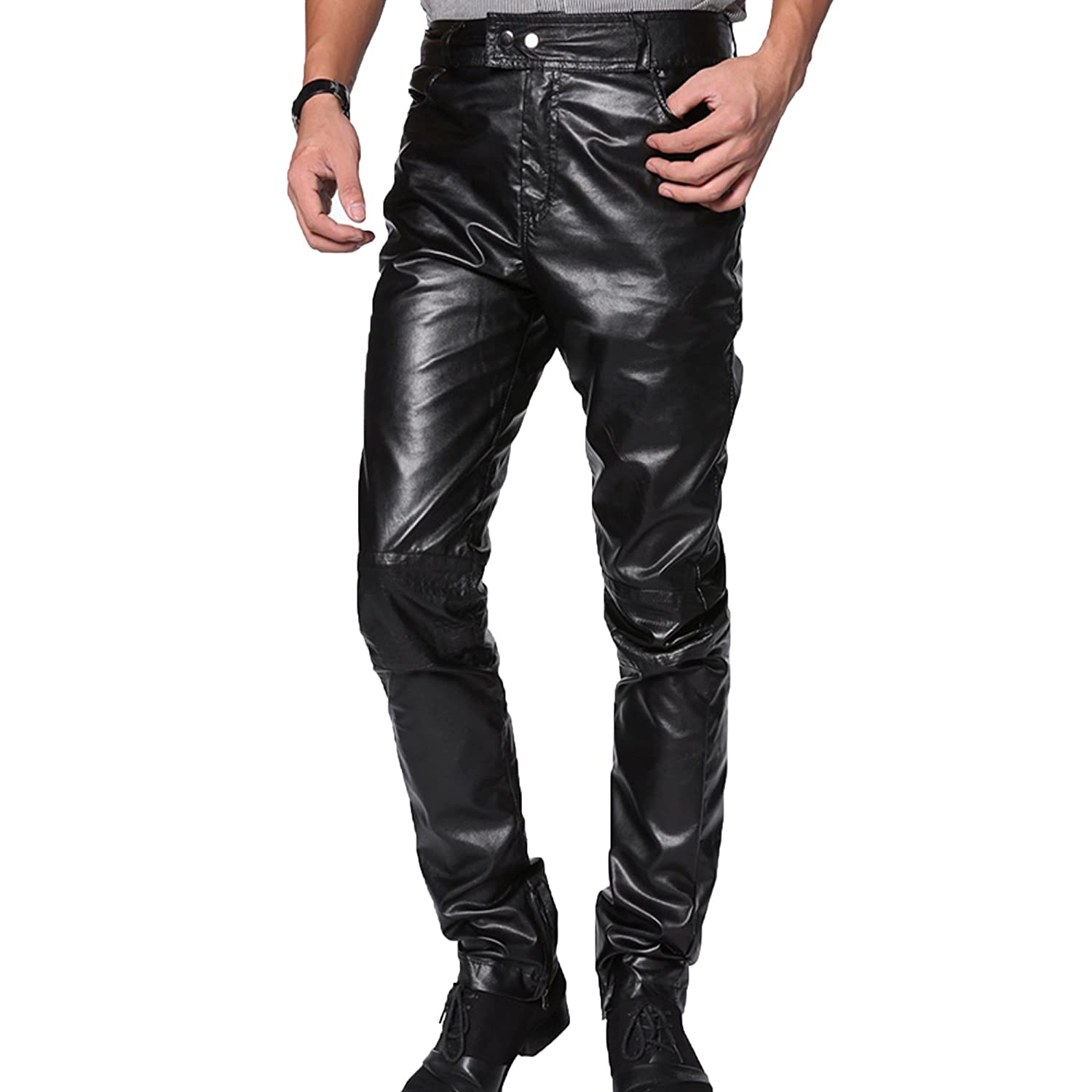 Zeagoo Men's Faux Leather Trousers Pants