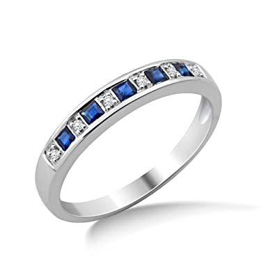 Miore 9ct White Gold Sapphire and Diamond Eternity Ring MG9132R