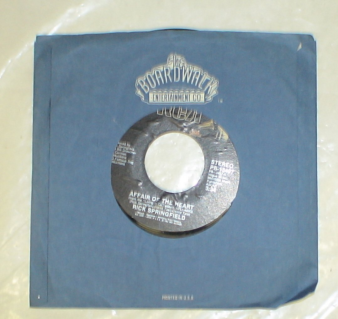 "Vintage 9"" 45rpm Vinyl Record : Rick Springfield Like Father Like Son & Affair of the Heart"