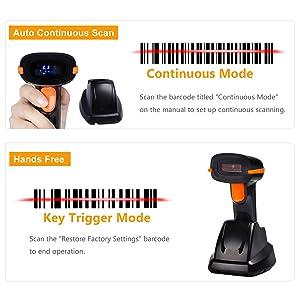 Tera Wireless Barcode Scanner 1D 2D with USB Cradle Charging Base Handheld Bar Code Reader Scanner Automatic Sensing Fast Precise Scanner (Color: 1D 2D QR Code Scanner)
