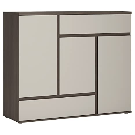 Furniture To Go Club 3-Door Wide Cupboard, 126 x 106 x 40 cm, Stone Melamine